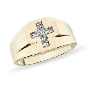 10K Yellow Gold Diamond Mens Cross Ring Jewelry