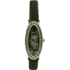 Fashion Watch with Swarovski Crystals / Genuine Stingray Leather Band