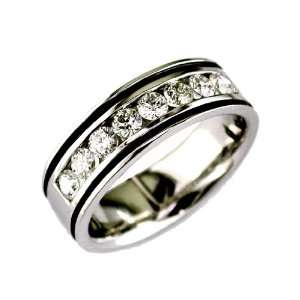 Mens Diamond Ring in 14K White Gold (TCW 1.00). Jewelry