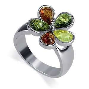 Sterling Silver Multicolor Amber Pear Shape Ring Size 8 Jewelry