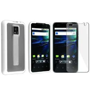 Clear with White Trim TPU Rubber Skin Case with Free Screen Protector