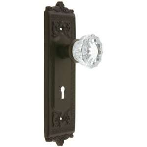 Egg & Dart Style Mortise Lock Set with Fluted Crystal Door