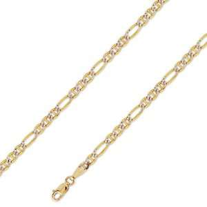 14K Solid Yellow 2 Two Tone Gold Ficonucci Chain Necklace 3.8mm (9/64