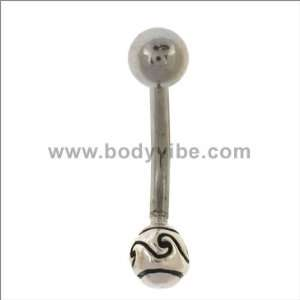 316L Surgical Steel   Tribal Design Belly Ring   14g 7/16