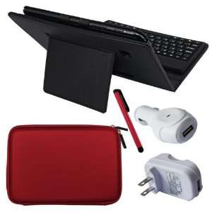 Premium Black Leather Case With Bluetooth Keyboard + Red Touch