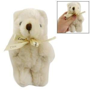 o Kids Beige Bowknot Decor Mini Bear Plush Toy Doll Gift Baby