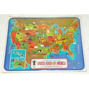 STATES OF AMERICA   Frame Tray Puzzle Map   1968