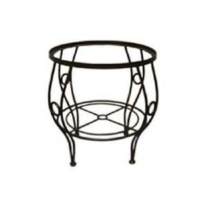 23 Inch Black Wrought Iron Side Table Stand Patio, Lawn