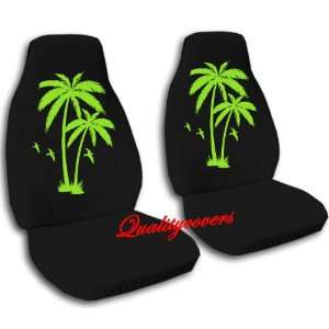 2 black with lime green palm trees car seat covers, for a