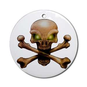 Ornament (Round) Skull and Crossbones with Green Eyes
