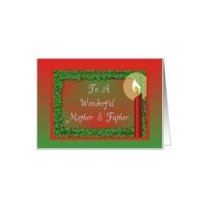 Christmas Candle Holly Red Green For Mother and Father