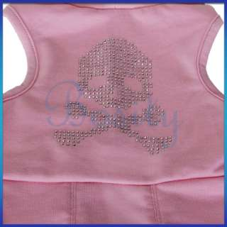 Pink Hooded Small Pet Dog Dress Clothes Skull Apparel S