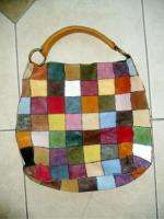 LUCKY BRAND LEATHER PATCHWORK TOTE HANDBAG