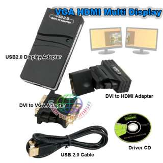 USB 2.0 UGA to DVI VGA HDMI Multi Display Dual Monitor Converter