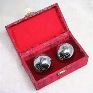 Chinese Health Exercise Stress Massage Balls Chrome Polished Steel w