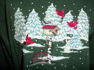 MEDIUM SWEATSHIRT FOREST GREEN PINE TRESS BIRD HOUSE RABBIT WINTER